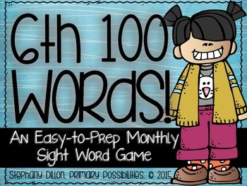 Sixth 100 Sight Words {An Easy to Prep Game}