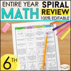 Sixth Grade Math Homework ENTIRE YEAR } EDITABLE