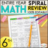 6th Grade Math Homework   6th Grade Spiral Math ENTIRE YEA