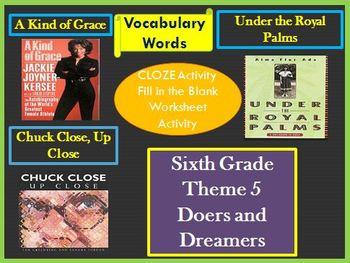 Houghton Mifflin 6th Grade Theme 5 Cloze Worksheets