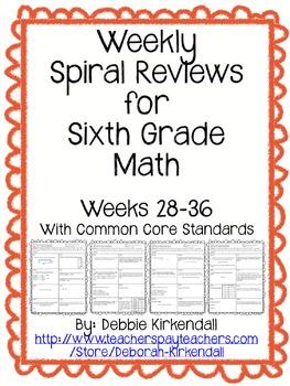 Sixth Grade Weekly Math Spiral Reviews (Weeks 28-36)