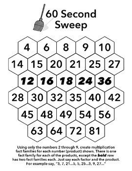 Sixty Second Sweep - Single Digit Multiplication