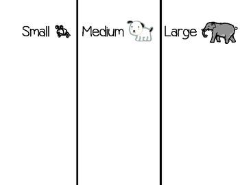 Size Sorting Chart-Small, Medium, Large-FREEBIE!