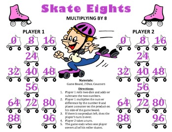 Skate Eights - A 2-Player Game to Practice Multiplying by