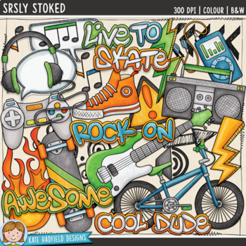 "Skater Boy / Teen Boy Clip Art: ""Srsly Stoked"""