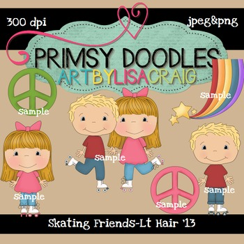 Skating Friends-Light Hair 300 dpi Clipart