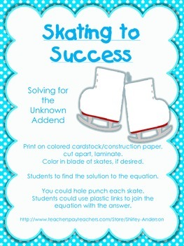 Skating for Success- Solving for the unknown addend