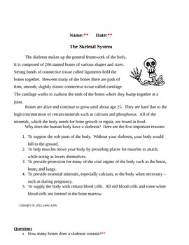 Skeletal System Study Sheets with KEY