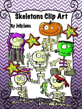 Skeleton Clip Art Bundle(Halloween Clipart) By JellyJams~No Prep!