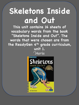 ReadyGen Skeletons Inside and Out Vocabulary Word Wall Cards