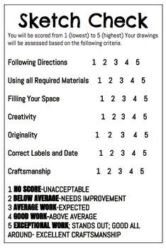 Sketchbook Check Sheet