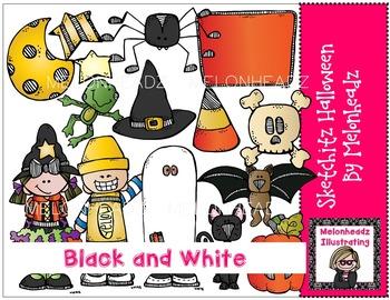Sketchitz Halloween by Melonheadz BLACK AND WHITE