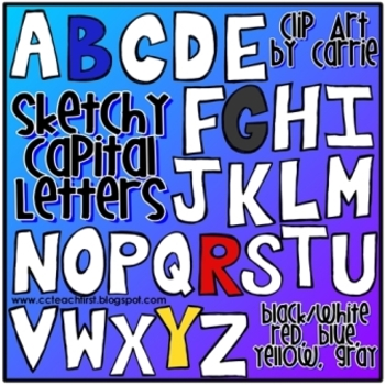 Sketchy Capital Letters Doodles (BW and 4 different full c