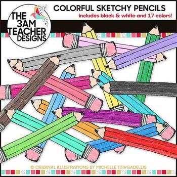 Sketchy School Pencil Graphics  in Bright Colors