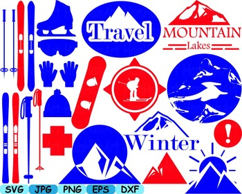 Ski Monogram clip art svg snow ice snowboard logo items re