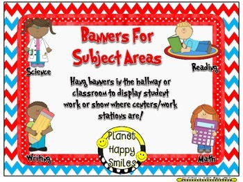 Skill Banners (Reading, Writing, Math, Science) ~ Red, Whi