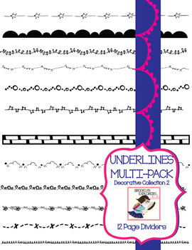 Skinny Decorative Page Dividers/Underlines (12 PNG Files)