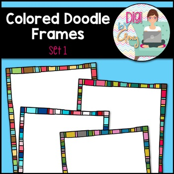 Colored Doodle Frames and Borders clipart - Set 1