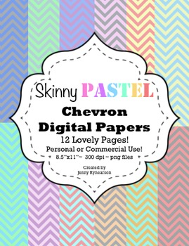 Skinny PASTEL Chevron Digital Papers! Personal & Commercia