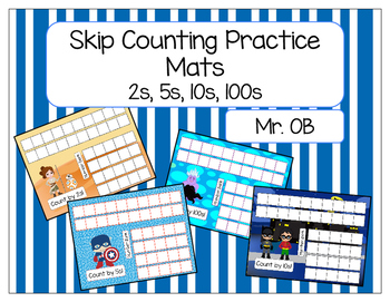 Skip Count by 2s 5s 10s 100s - Practice Mats