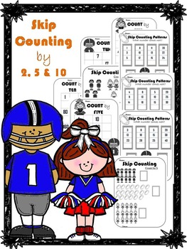 Skip Counting by 2, 5 & 10 worksheets (sport's theme)