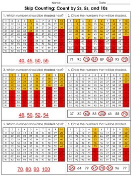 Skip Counting: Count by 2s, 5s, and 10s (100s Chart) Pract