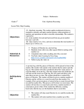 Skip Counting Lesson Plan