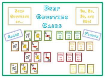 Skip Counting Math Card Games - Animal Deck of Cards - 2s