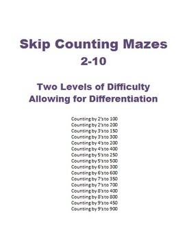 Skip Counting Mazes - learn multiples by working through mazes