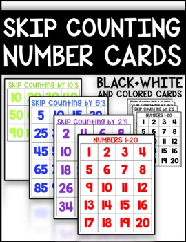 Skip Counting Number Cards (2s,  5s, 10s)