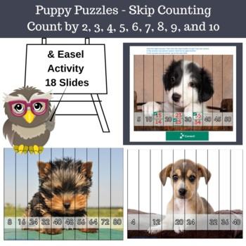 Skip Counting Puppy Puzzles, Count by 2, 3, 4, 5, 6, 7, 8,