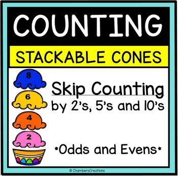 Skip Counting Stackable Ice Cream scoops! 2s, (odds AND ev
