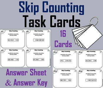Skip Counting Task Cards 1st 2nd 3rd Grade/ Skip Counting Game