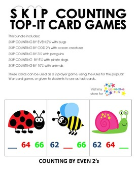 Skip Counting Top-It Bundle (played like War)