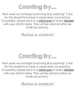 Skip Counting by 2's {Sock Note}