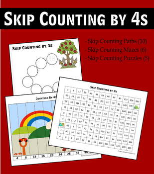 Skip Counting by 4s Worksheets - Paths, Mazes & Puzzles