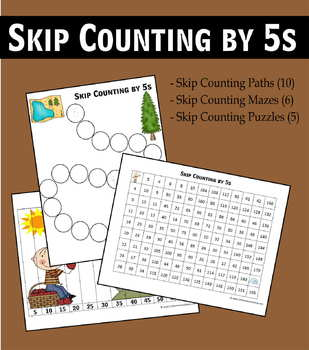 Skip Counting by 5s Worksheets - Paths, Mazes & Puzzles