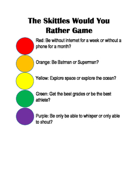 Skittles Would You Rather Game