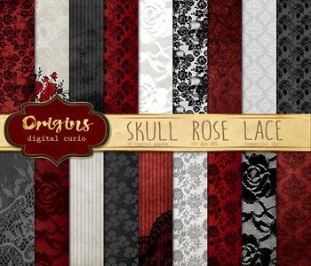 Skull Rose Lace Digital Paper, vintage gothic halloween ba