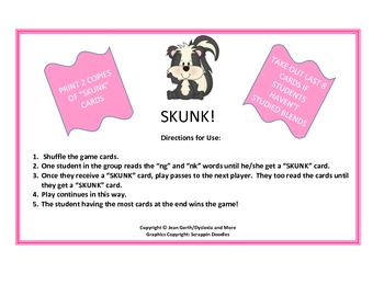 Skunk! - An activity for ng, nk words