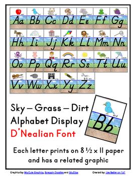 Sky-Grass-Dirt Alphabet Display - D'Nealian Font