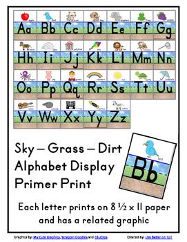 Sky-Grass-Dirt Alphabet Display - Primer Print