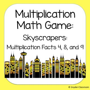Multiplication Facts Math Game :Facts 4, 8, 9 (2 different