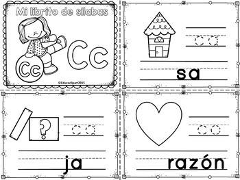 Sílabas - Mini librito sílabas con C/ Spanish Syllables mi