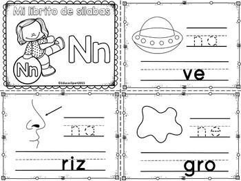 Sílabas - Mini librito sílabas con N/ Spanish Syllables mi