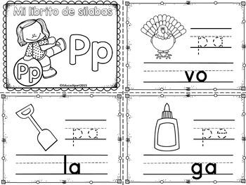 Sílabas - Mini librito sílabas con P/ Spanish Syllables mi