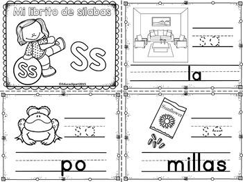 Sílabas - Mini librito sílabas con S/ Spanish Syllables mi