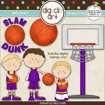 Slam Dunk 3-  Digi Clip Art/Digital Stamps - CU Clip Art