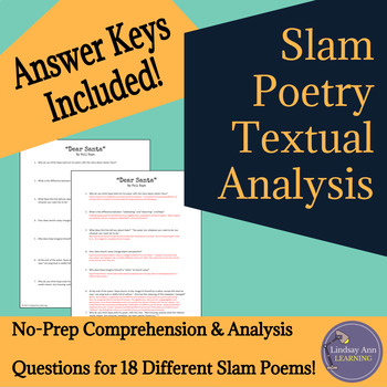 Slam Poetry Close Reading Analysis Questions, Middle Schoo