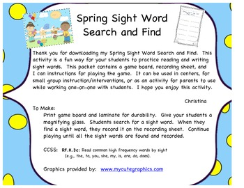 Spring Sight Word Search and Find